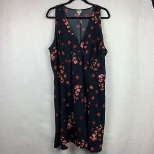 A New Day Sleeveless Black Floral Dress Size XXL